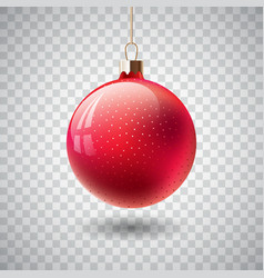 isolated red christmas ball on transparent vector image