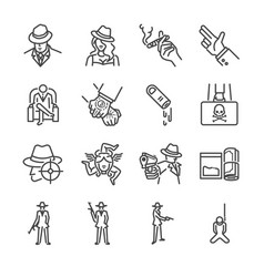 mafia and gangster line icon set vector image vector image