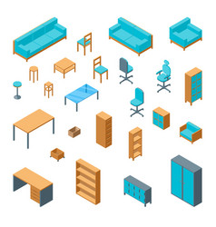 office furniture 3d icons set isometric view vector image