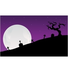 Silhouette of graveyard scary halloween vector