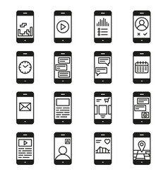 Smartphone functions and apps icon set vector