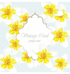 Vintage card with yellow flowers vector