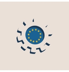 3D cog wheel with European union flag vector image