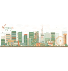 Abstract Nagoya Skyline with Color Buildings vector