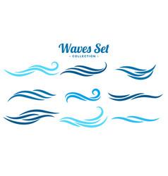 Abstract waves logo concept set nine vector