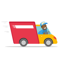 African-american courier driving a delivery truck vector