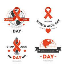 aids day isolated icons red stripe or loop charity vector image