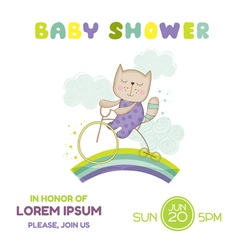 Baby shower or arrival card - cat on a bike vector