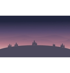 Beautiful hill at night landscape silhouette vector