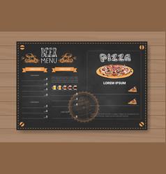 beer and pizza menu design for restaurant cafe pub vector image