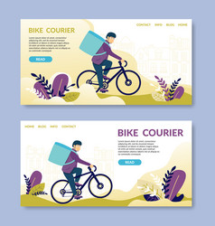 bike courierread happy young man electric bike vector image
