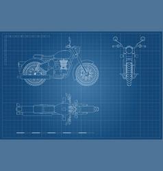 blueprint retro classic motorcycle vector image