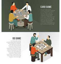 Board games horizontal banner set vector