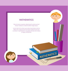 Books and office educational math page vector