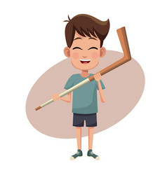 Boy sport stick hockey image vector