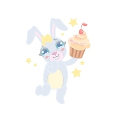 Bunny Holding A Cupcake vector image