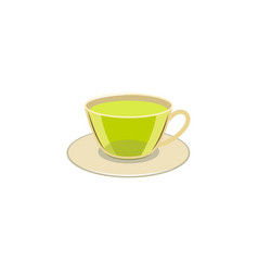cap of green tea on the caucer isolated vector image
