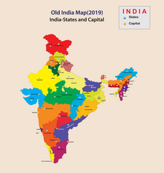 Capital name in india all states name in india vector