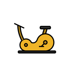 Cardio cycling workout icon with fitness bike vector