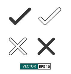 check mark icon set isolated on white eps 10 vector image