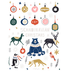 christmas new year icons set in flat style vector image