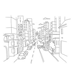City street linear perspective sketch road view vector
