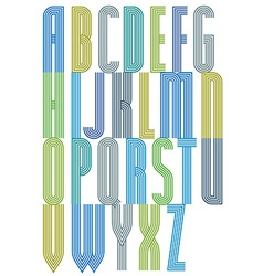 Colorful geometric decorative striped font letters vector