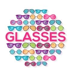 Colorful glasses on brick wall circle infographics vector image