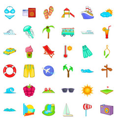 Cool vacation icons set cartoon style vector