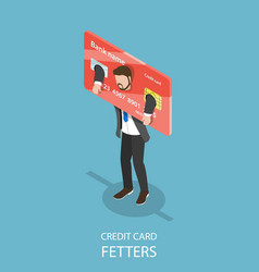 Credit card fetters flat isometric concept vector