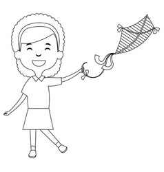 Cute and little girl flying a kite vector