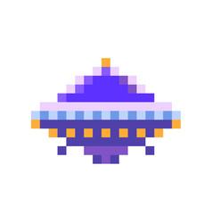 cute purple space invader ufo game enemy in pixel vector image
