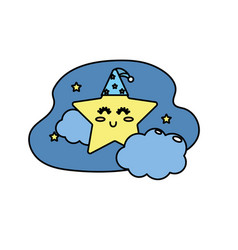 Cute star with cloud in the sky design vector