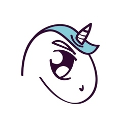 Cute unicorn drawn icon vector