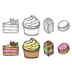desserts and sweets color vector image