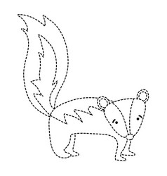 Dotted shape cute and sad skunk wild animal vector