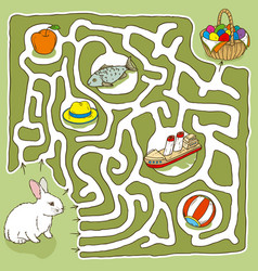 Easter bunny maze game vector