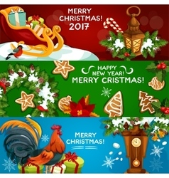 Festive Christmas and New Year banner set vector image