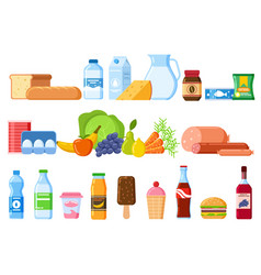 Food products bread and water bottles juice and vector