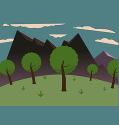 forest on hills with big mountains and sky vector image