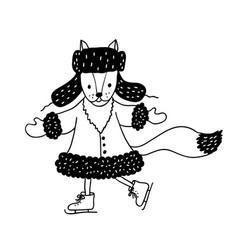 Funny fox nursery art minimalist scandinavian vector