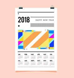 Geometric memphis style for calendar template 2021 vector