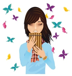 girl with a pans flute surrounded butterflies vector image