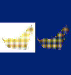 Gold dot arab emirates map vector