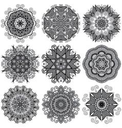 Grey circle lace ornament round ornamental vector