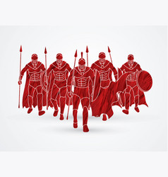 group of spartan warrior walking with spears vector image