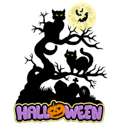 halloween sign with cats vector image