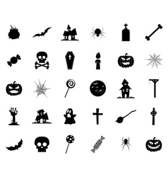Halloween silhouette icons vector image