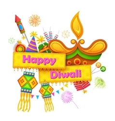 Happy Diwali background with diya and firecracker vector
