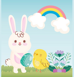 happy easter rabbit with egg chicken rainbow field vector image